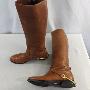 Ralph Lauren Jenny Brown Leather Boots